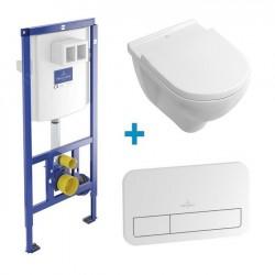 VILLEROY & BOCH O.Novo SET 4v1 misa WC + sedátko + nádrž + tlačítko biele 351623