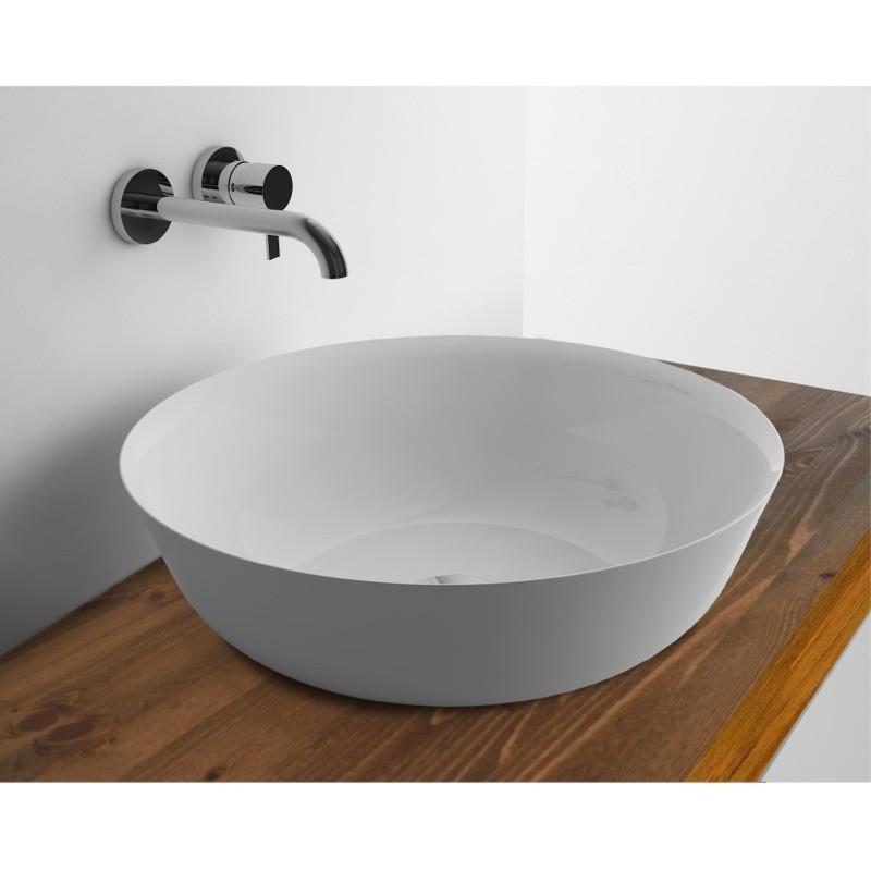 WhiteStone umývadlo na dosku, miska 410 Slim bez prepadu biela lesklá M4841001