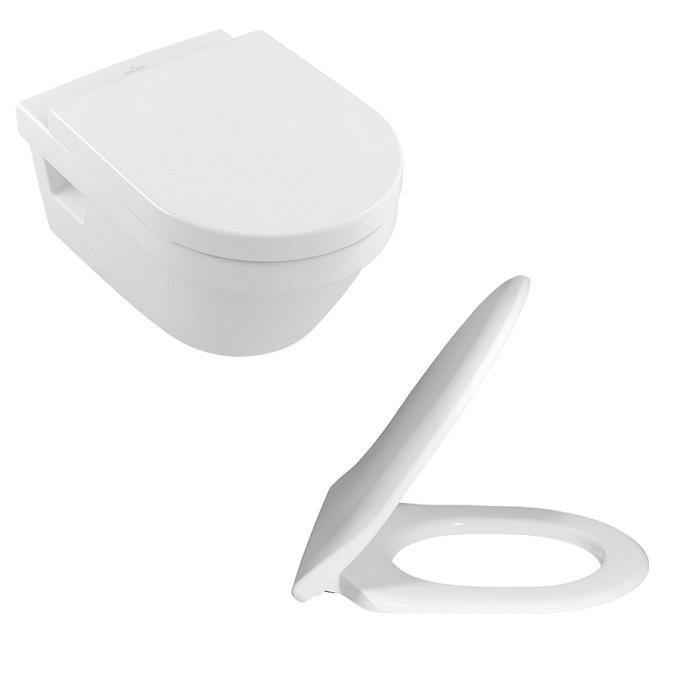 VILLEROY & BOCH Architectura závesná WC misa s DirectFlush + sedátko SoftClose biela s CeramicPlus 5684HRR1
